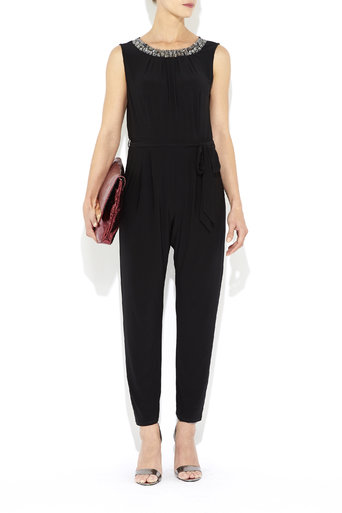 Petite Black Embellished Neck Jumpsuit Was £45.00 Now £20.00 click to visit Wallis