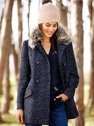 Faux fur trim boucle coat now £35 click to visit M&Co