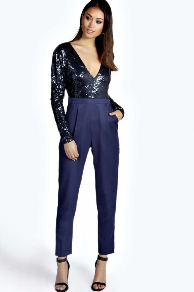Esme Sequiin Long Sleeve Plunge Neck Jumpsuit Product code: azz21723 £30.00 click to visit Boohoo