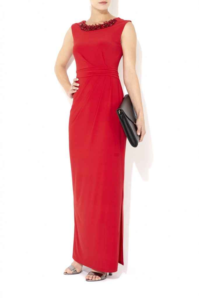 Red Embellished Necklace Maxi Dress     Was £60.00     Now £45.00 click to visit Wallis