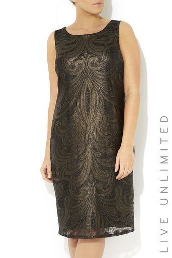 Plus Size Patterned Foil Lace Dress Was £65.00 Now £25.00 click to visit Wallis
