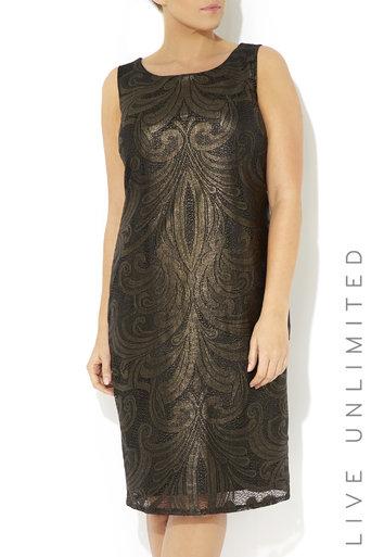 Plus Size Patterned Foil Lace Dress Was £65.00 Now £25.00 click to visit Wallis