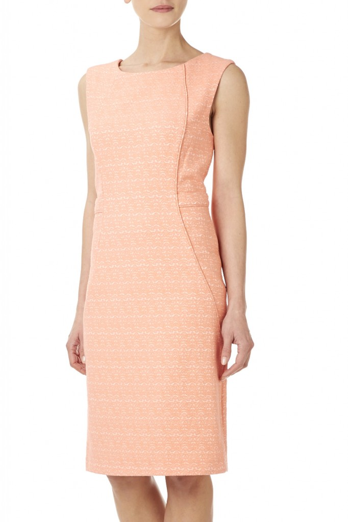 Melon Fitted Jacquard Dress Was £65.00 Now £52.00 click to visit Wallis