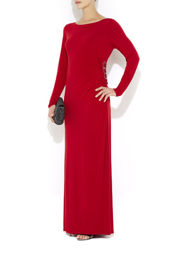 Red Embellished Maxi Dress Was £55.00 Now £20.00 click to visit Wallis