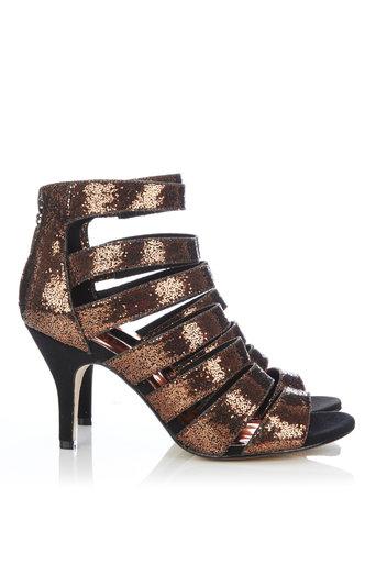 Bronze Glitter Mid Heel Sandal Was £39.50 Now £20.00 click to visit Wallis