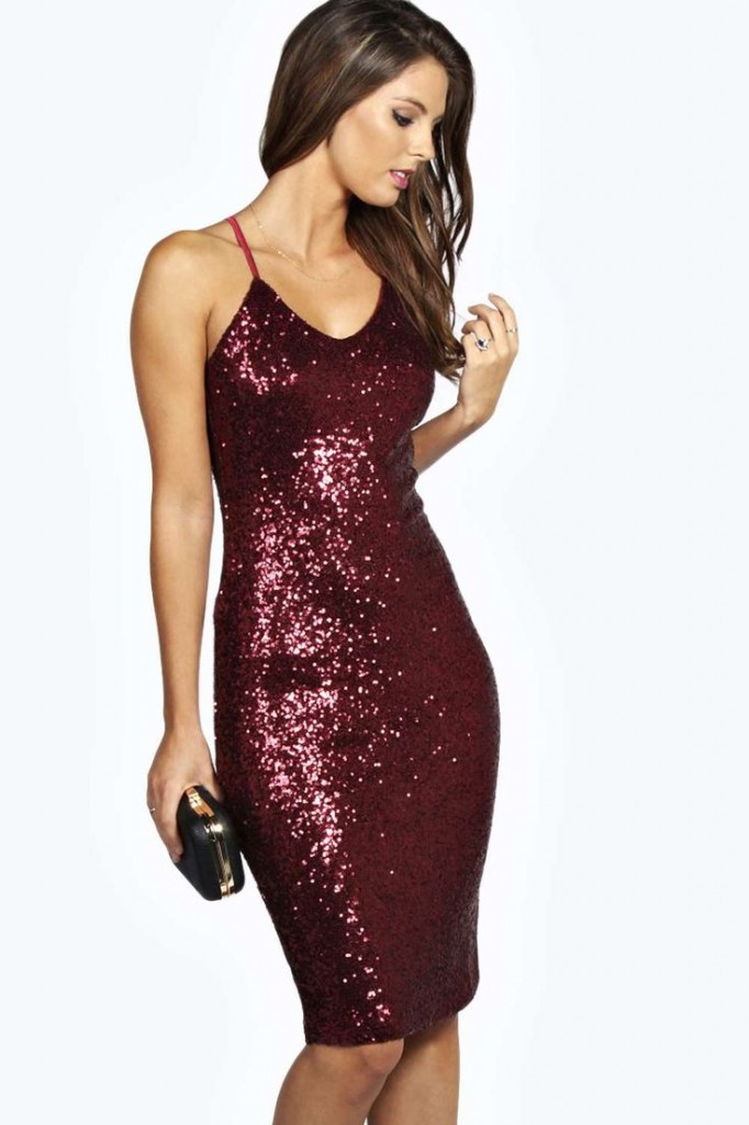 Kylie Sexy Sequin Strappy Midi Dress Product code: azz21892 £30.00 click to visit Boohoo