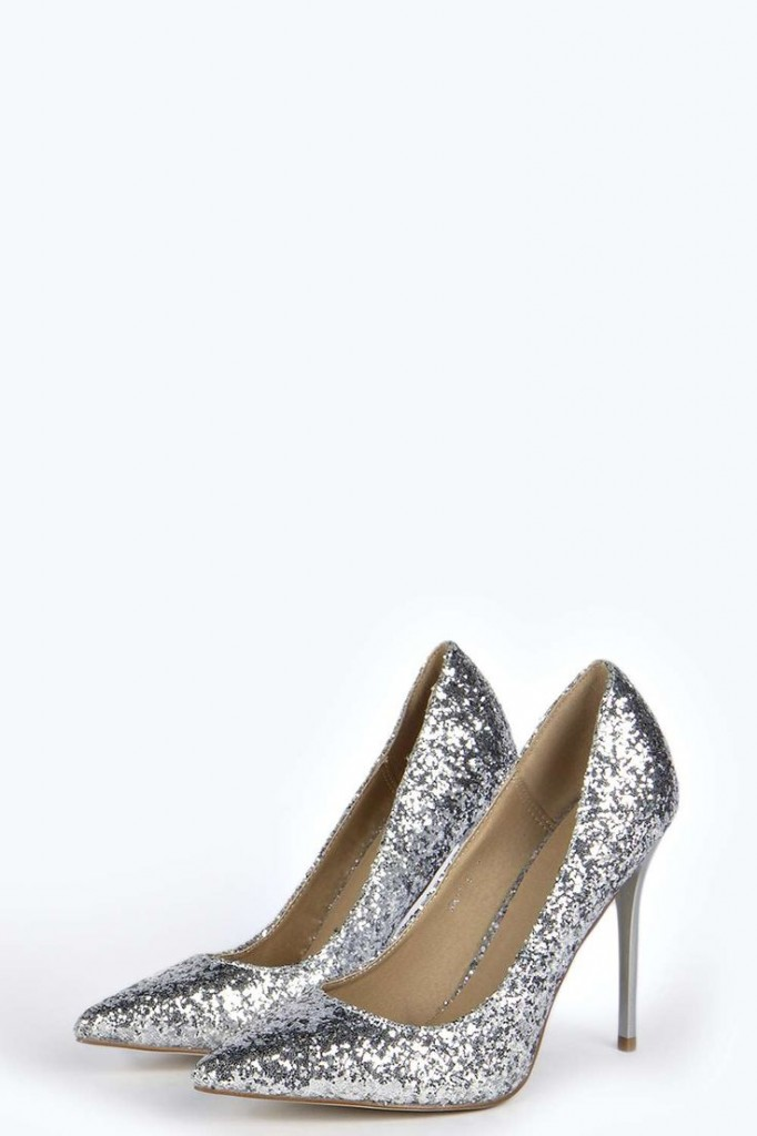 Cally Glitter Pointed Court Heels Product code: azz20914 £30.00 click to visit Boohoo