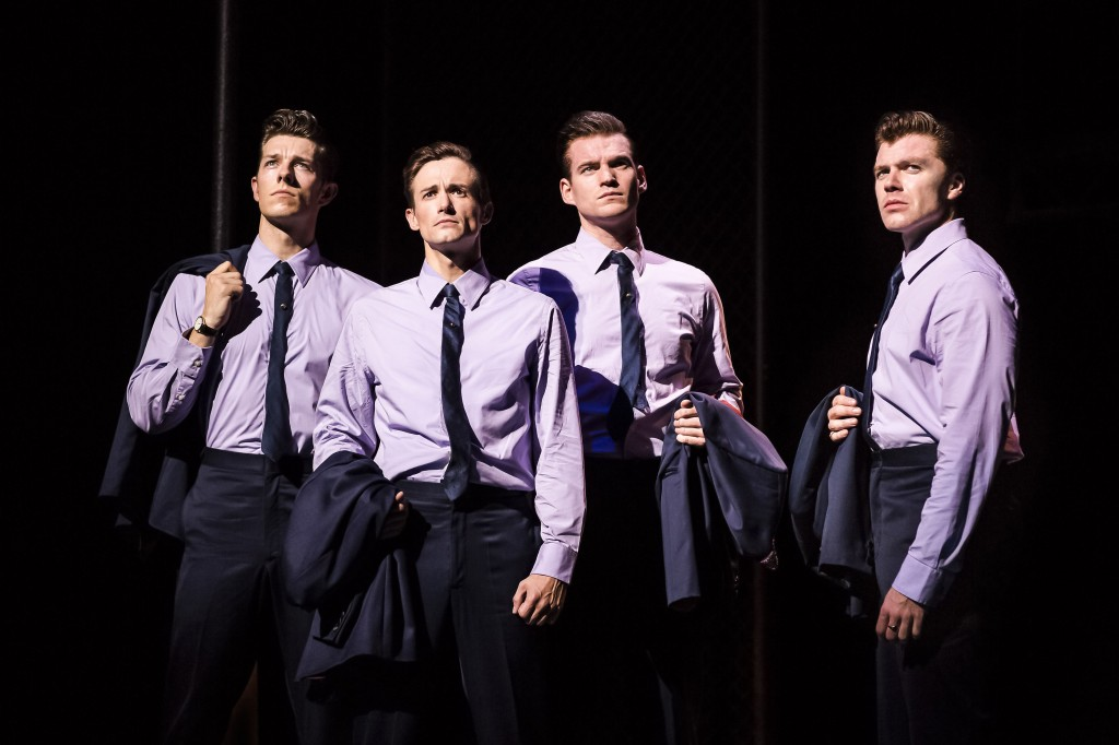 Lewis Griffiths, Tim Driesen, Sam Ferriday and Stephen Webb in JERSEY BOYS UK tour credit Helen Maybanks