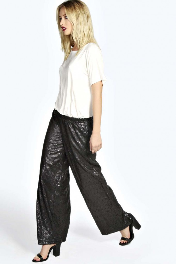 Rylee All Over Sequin Wide Leg Trousers Product code: azz21622 £25.00 click to visit Boohoo