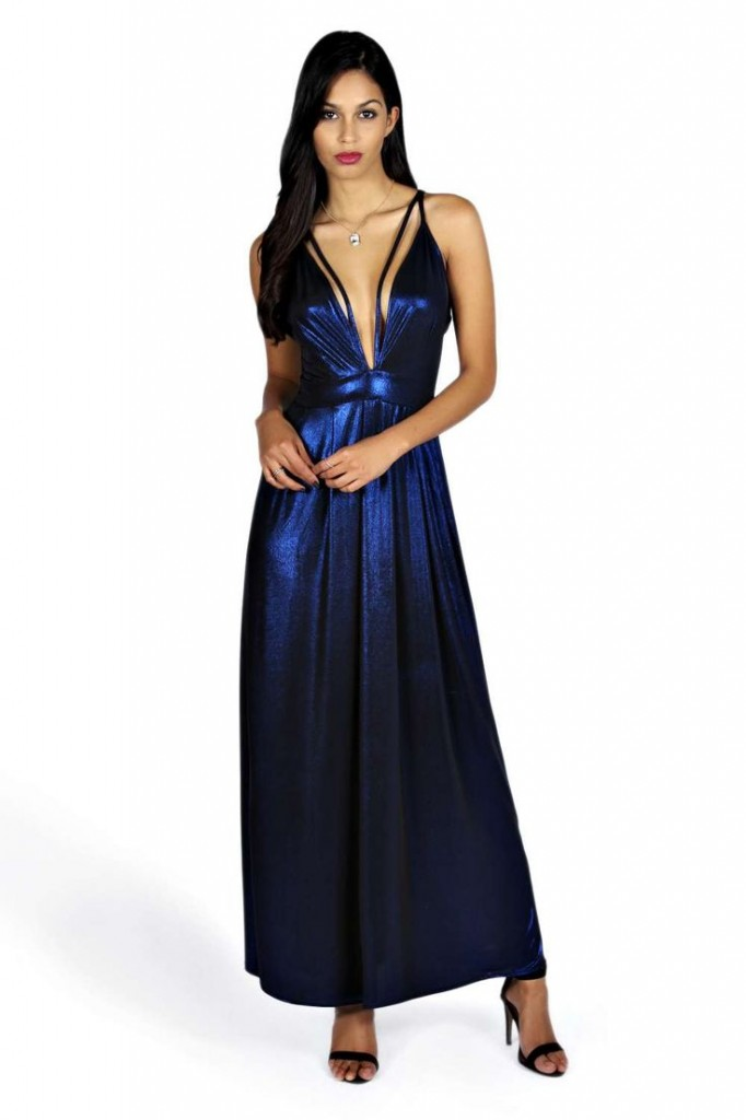 Sophie Metallic Plunge Maxi Dress Product code: azz23559 £18.00 click to visit Boohoo