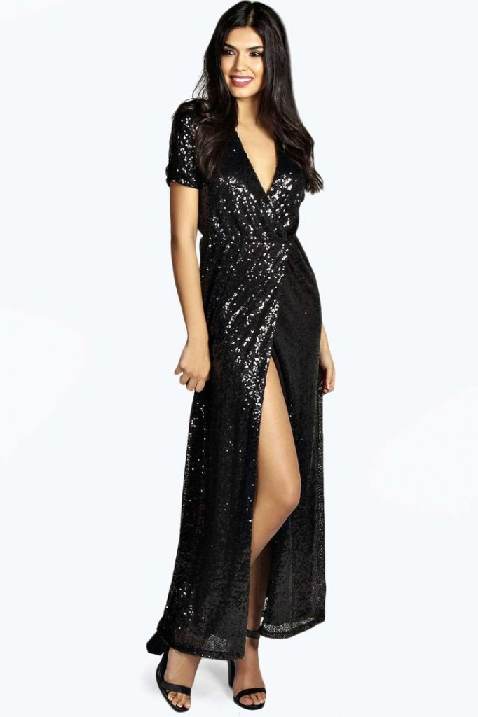 Dixie Woven Wrap Front Sequin Maxi Dress Product code: azz19852 £40.00 click to visit Boohoo