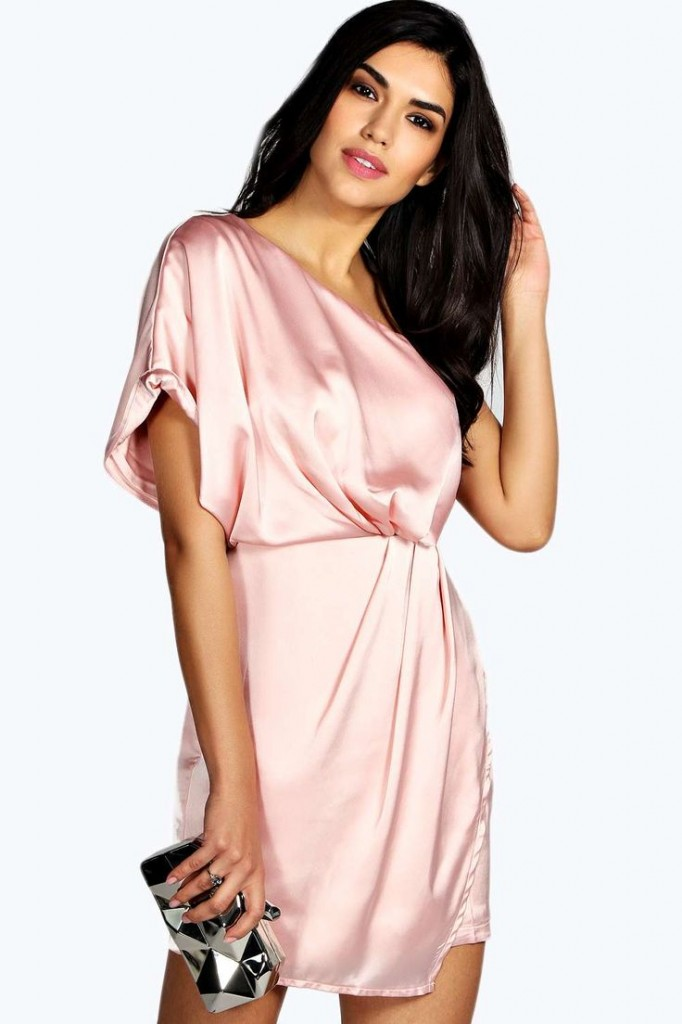 Arabella Silky Draped Dress Product code: azz20969 £25.00  click to visit Boohoo