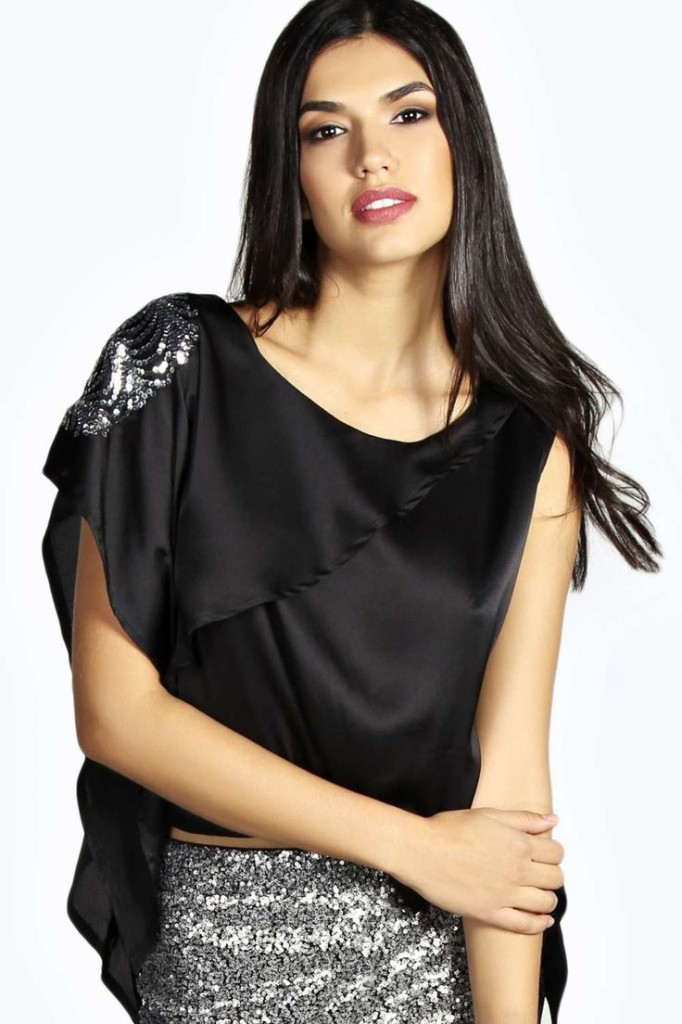 Maisie Sequin Trim Sleeve Silky Top Product code: azz20643 £20.00 click to visit Boohoo