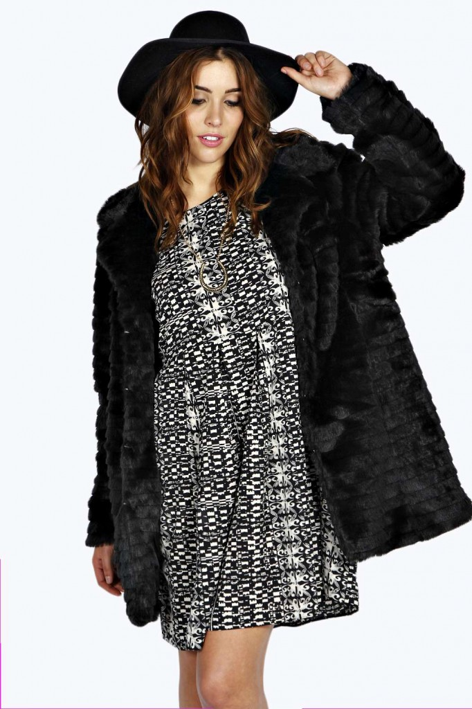 Louise Faux Fur Stripe Coat £45 click to visit Boohoo