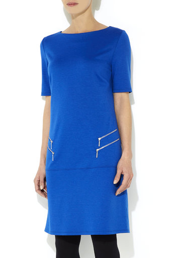 Blue Double Zip Shift Dress     Was £29.00     Now £23.20 click to visit Wallis