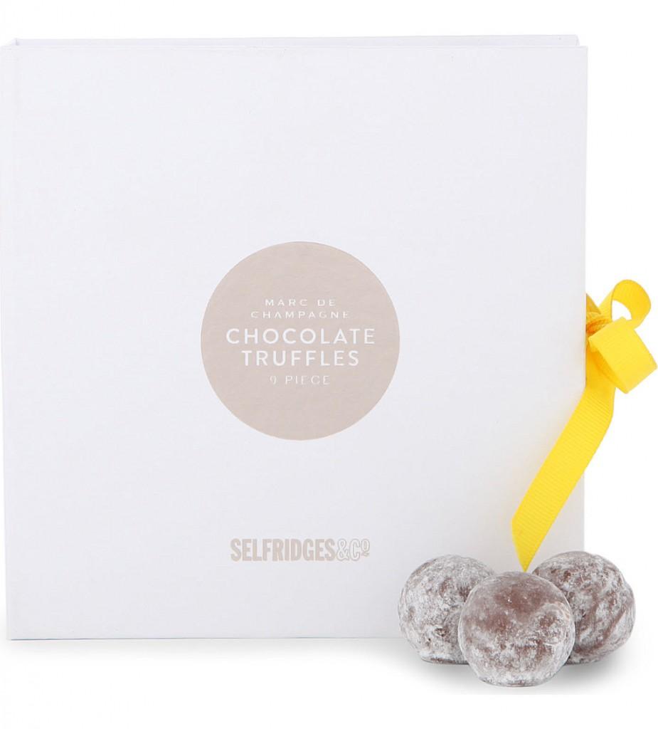 SELFRIDGES SELECTION Nine-piece Marc de Champagne milk chocolate truffles     £9.99 click to visit Selfridges