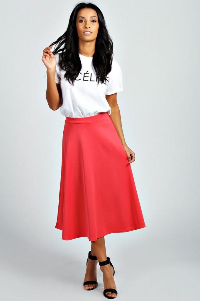 Arianna Plain Full Circle Midi Skirt £12 click to visit Boohoo