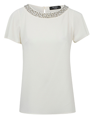 Moda Embellished Neck Top Was £14.00 Now £10.00 click to visit George at Asda