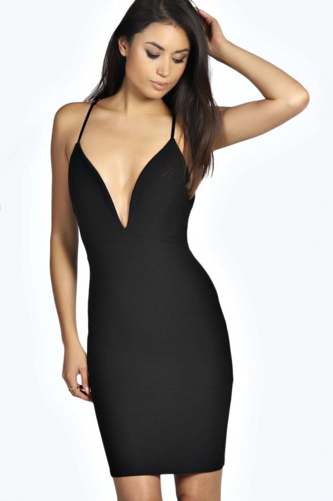 Cece Bandage Plunge Bodycon Dress £20.00  click to visit Boohoo