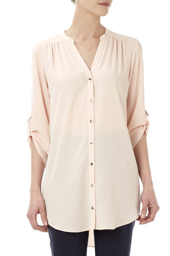Pale Pink Trim Tab Sleeve Shirt     Price: £32.00 Click to visit Wallis