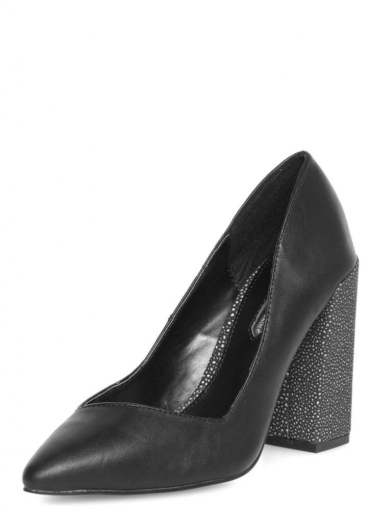 Black high block heel pointed court shoes     Was £29.00     Now £11.60 click to visit Dorothy Perkins