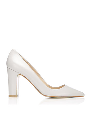 Grey Leather Pointed Block Heel Court Shoe     Was £85.00     Now £68.00 click to visit Wallis