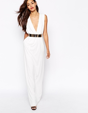 AQ AQ Curtis Plunge Neck Maxi Dress with Sephere Belt £175.00 Click to visit ASOS