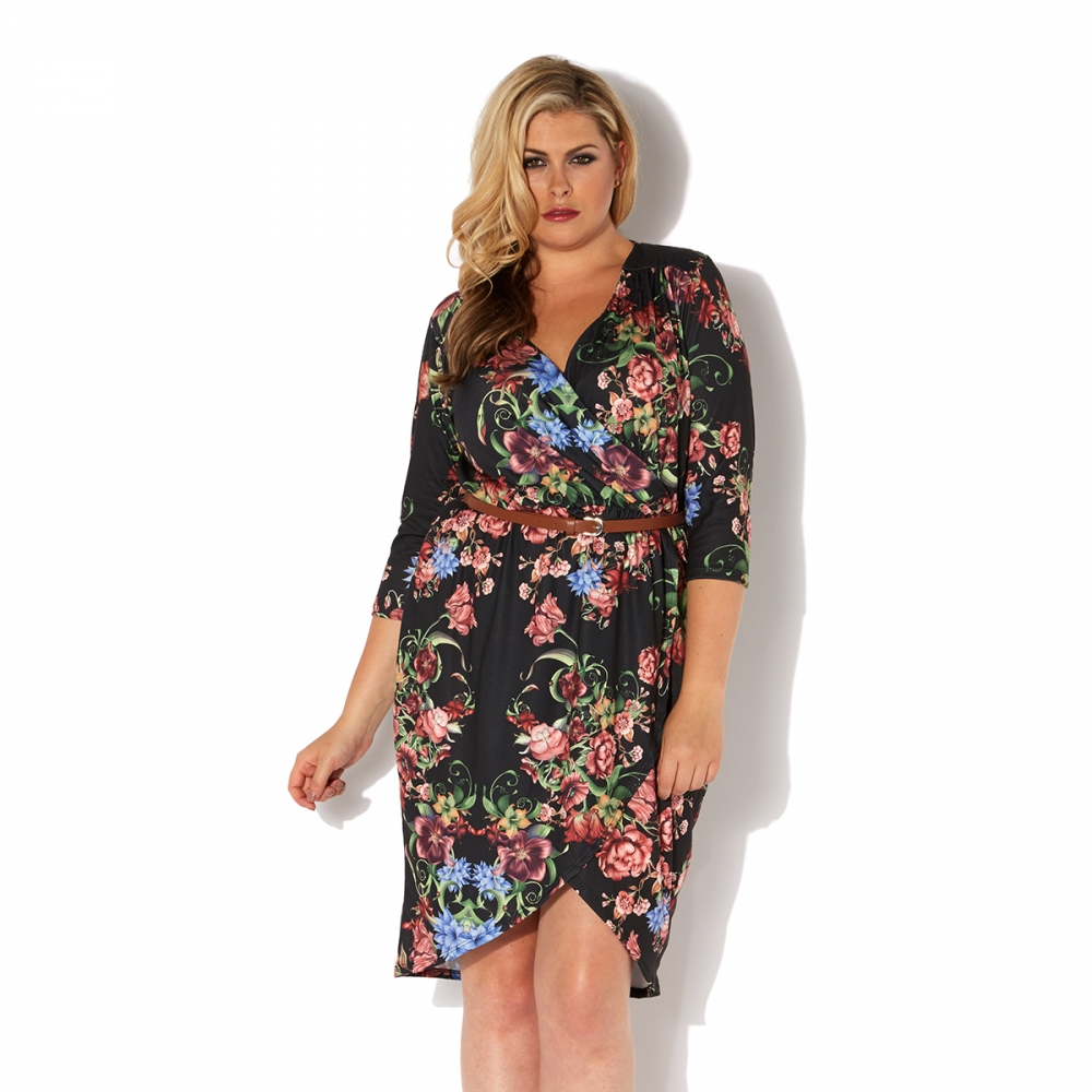 Pink Clove Black Floral Printed Wrap Dress £26 click to visit Pink Clove