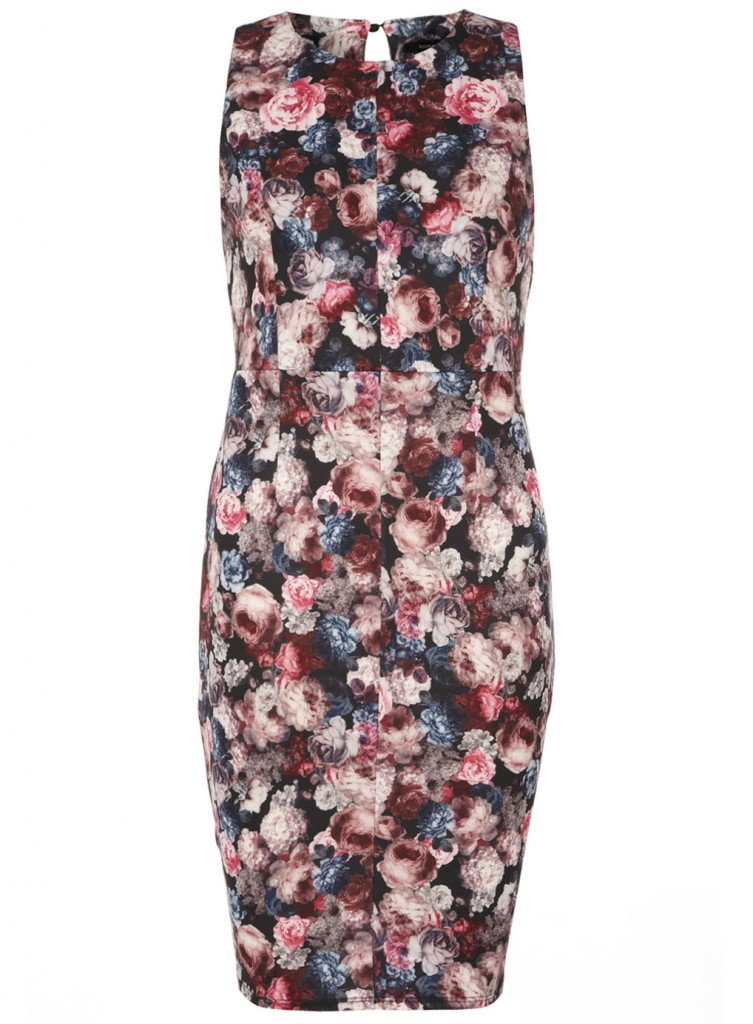 Pink floral pencil dress Price: £28.00 click to visit Dorothy Perkins