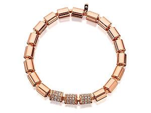 Fossil JA6544791 Vintage Glitz Rose Gold Plated Crystal Stretch Bracelet £35 click to visit FH HInds