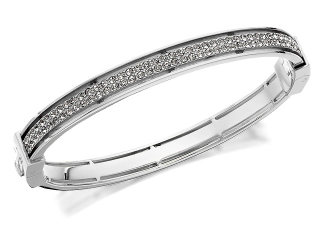 Fossil JF00103040 Stainless Steel Crystal Hinged Bangle £79 Click to visit F. Hinds