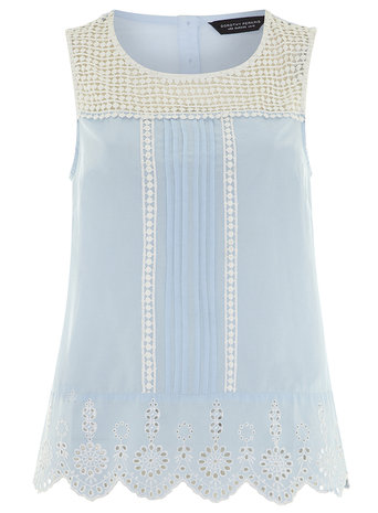 Pale Blue Crochet Detail Shell Top Price: £22.00 click to visit Dorothy Perkins