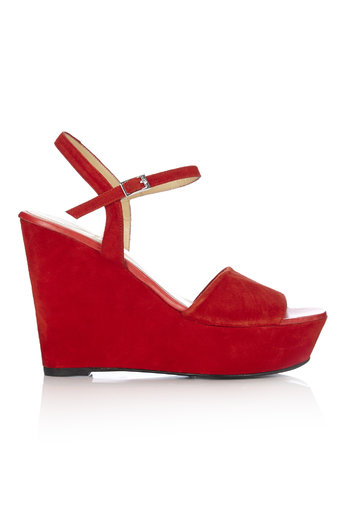 Red Suede Platform Wedge Shoe Was £85.00 Now £68.00 click to visit Wallis