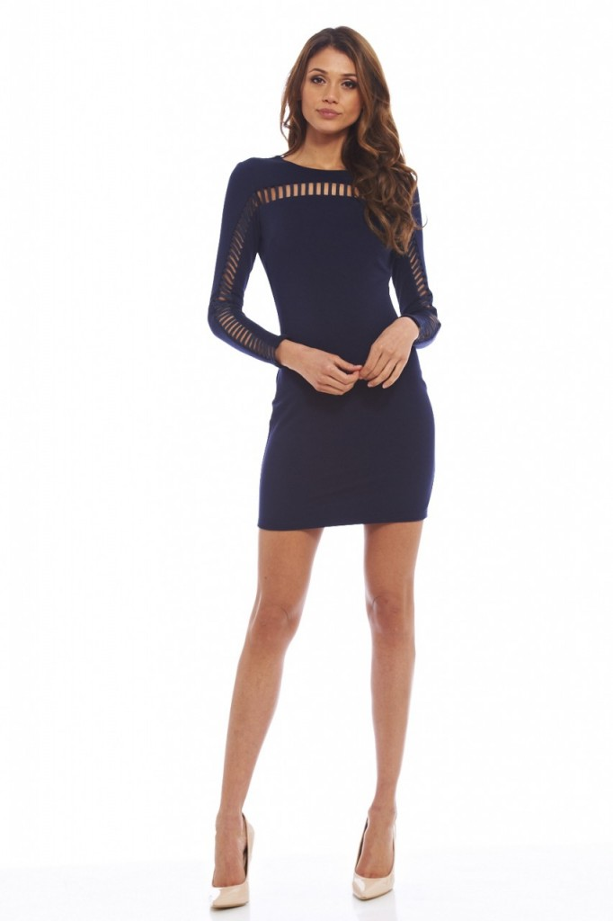 Long Sleeved Cut- Out Bodycon Dress Item code: D138NAVY £35.00 click to visit AX Paris