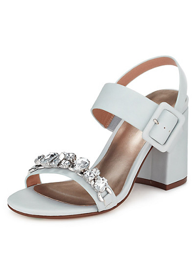 M&S COLLECTION Diamanté Block Heeled Sandals with Insolia £35 click to visit M&S