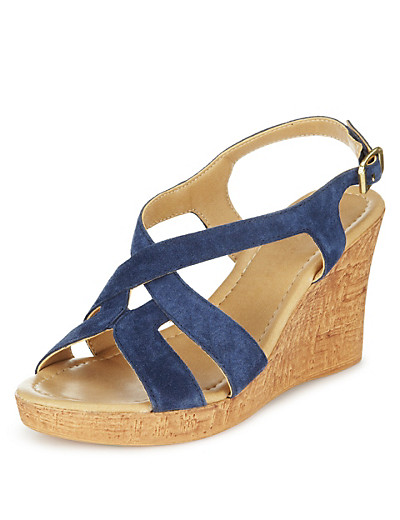 M&S COLLECTION Suede Swirl Wedge Sandals £39.50 click to visit M&S
