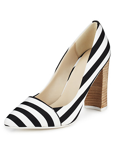 LIMITED EDITION Angular Block Heel Striped Court Shoes with Insolia® £42 click to visit M&S