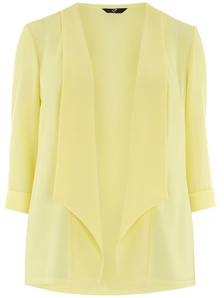Evans Plus Size Yellow Crepe Jacket £30 click to visit House of Fraser