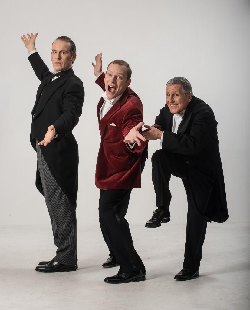 Jason Thorpe (Jeeves), Robert Webb (Bertie Wooster) and Christopher Ryan (Seppings). Credit Hugo Glendinning.jpg