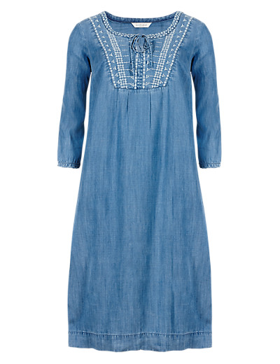 INDIGO COLLECTION New Tencel® Embroidered Neckline Denim Tunic Dress £45 click to visit M&S