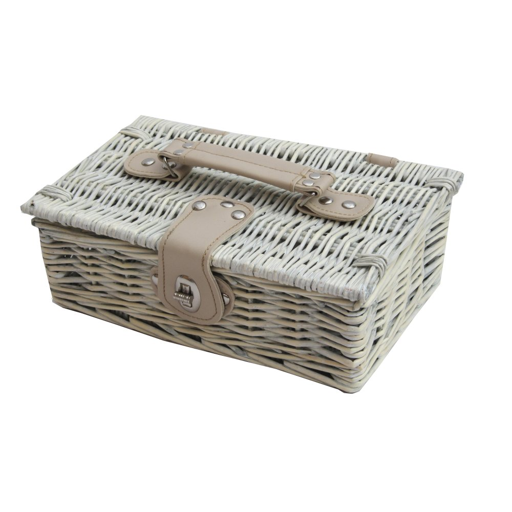 Provence White Wash Small Wicker Empty Hamper Basket | Storage Basket £12 click to visit The Basket Company