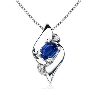 Oval Blue Sapphire and Diamond Shell Pendant from £103.59 click to visit Angara
