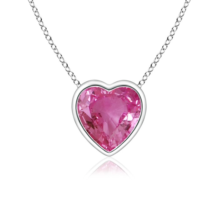 Solitaire Heart Pink Sapphire Bezel Set Pendant from £292.53 click to visit Angara