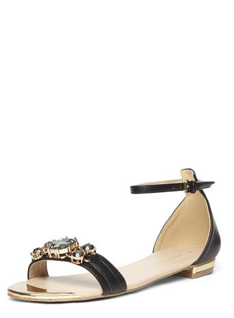 Black embellished flat sandals Was £25.00 Now £22.50 click to visit Dorothy Perkins