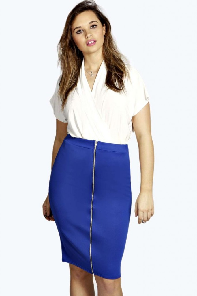 Marie Zip Front Midi Skirt £15 click to visit Boohoo