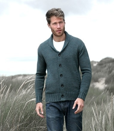 UNISEX SHAWL COLLAR CARDIGAN £39 click to visit Woolovers