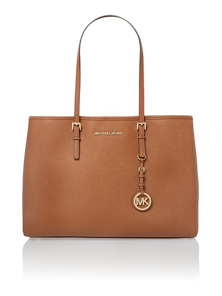 Michael Kors Jet Set Travel tan medium tote bag click to visit House of Fraser