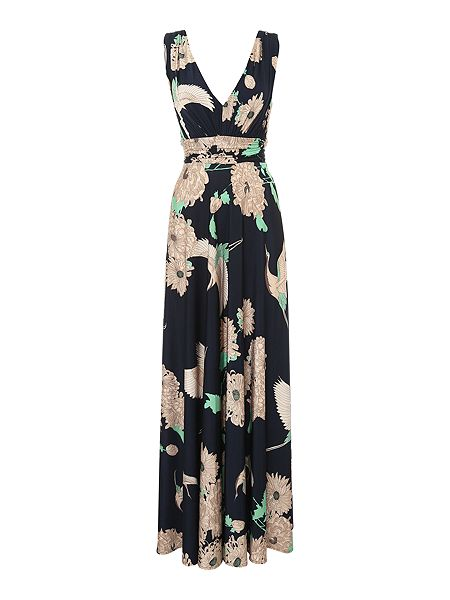 Biba Crane print deep V maxi dress now £119.20 click to visit House of Fraser