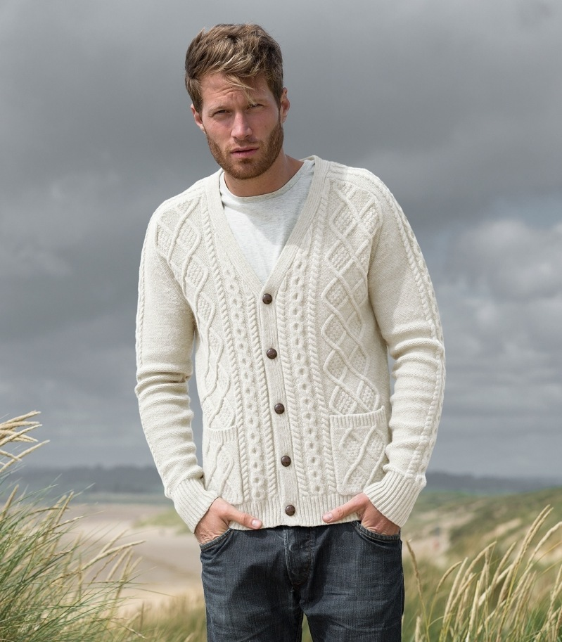 LAMBSWOOL UNISEX VEE NECK CARDIGAN £45 click to visit Woolovers