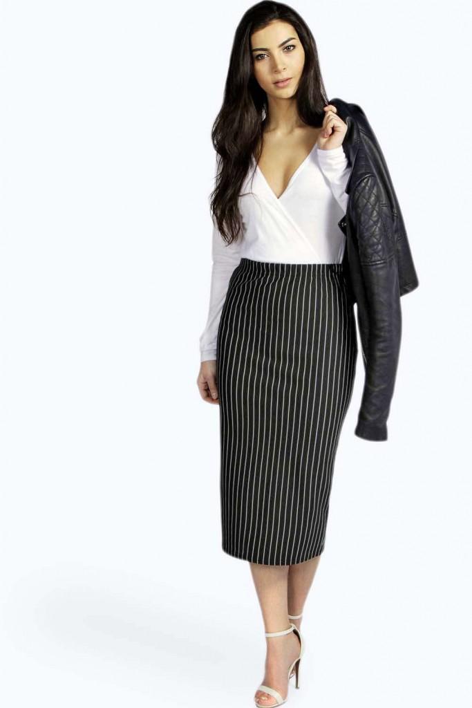 Polly Pinstripe Midi Skirt £8 Click to visit Boohoo